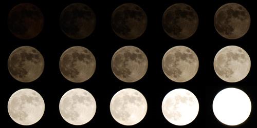シャッタースピードを変えて撮影した月